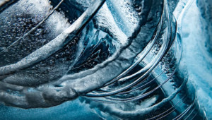 View of Spiraling Water during a surf photography
